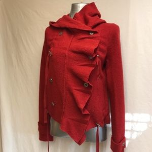 Free People 100% Wool Hooded Jacket - Size Small